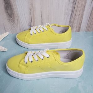 NEW Yellow Lace Up Canvas Sneakers